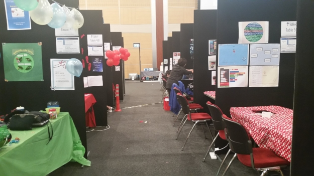 Stalls for Young ICT Explorers student team projects at the UQ Centre, UQ, St Lucia.