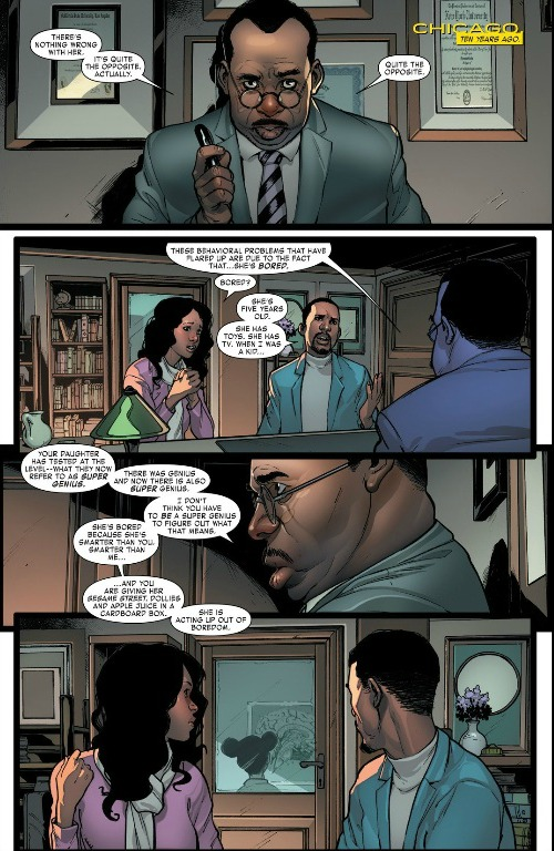 You can see Riri sitting in a back room while her parents speak with her Principal about her...extreme intellect.