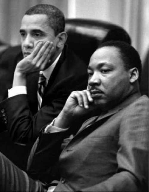 A photoshopped picture of Barack Obama and MLK sitting together