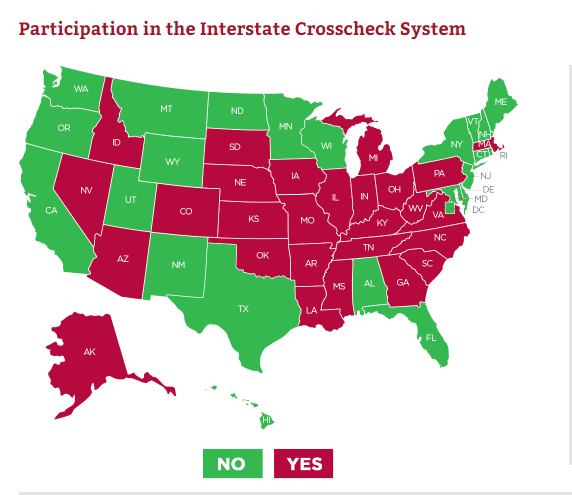 The number of States that were involved in Interstate Crosscheck shows how organized of an effort it was to strip the right to vote from non-Whites.