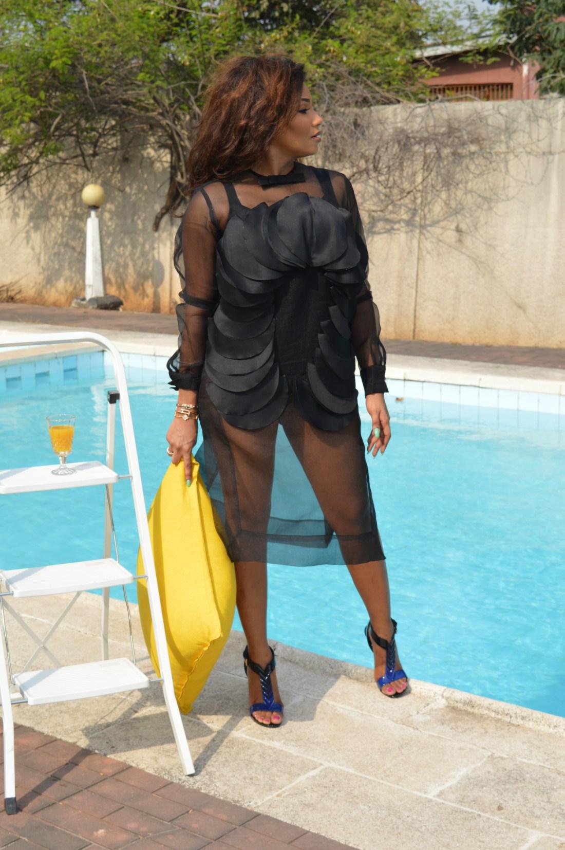 LOOK 4: ORGANZA SHIFT DRESS - Bridget Awosika SHOES - Louis Vuitton