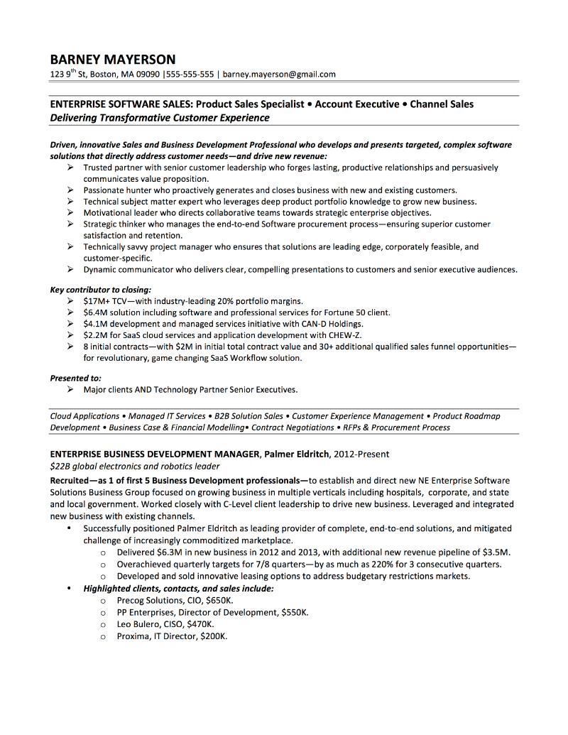 Sample Business Development Manager Cover Letter