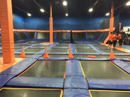 I love how each child has their own mat to jump.