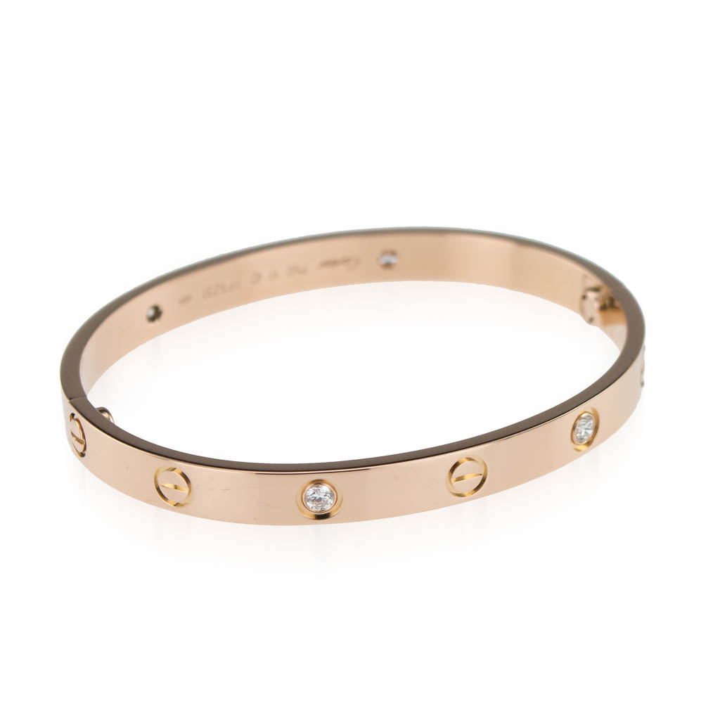 Regal Time     Cartier Love Bracelet  4 Diamonds  Rose Gold B6036017     Cartier Love Bracelet  4 Diamonds  Rose Gold B6036017 size 16