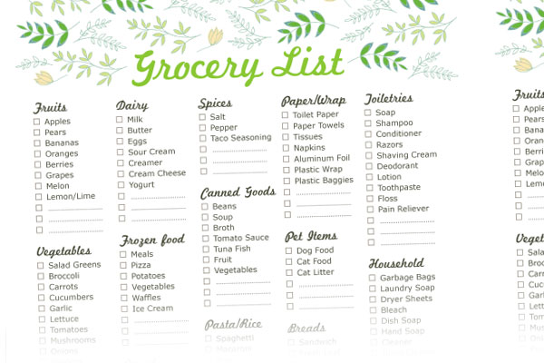 Free Grocery List Template printable new calendar site blank – Grocery Template