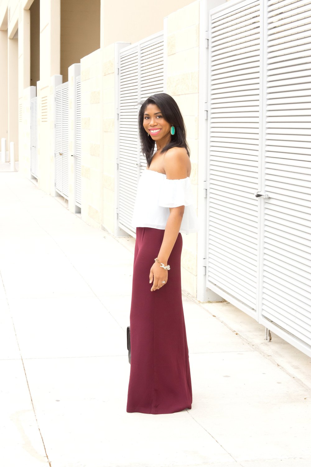 off the shoulder blouse wide leg pants dallas blogger black fashion blogger stephanie taylor jackson