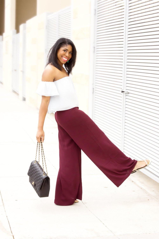 black fashion blogger stephanie taylor jackson dallas blogger off the shoulder top wide leg pants