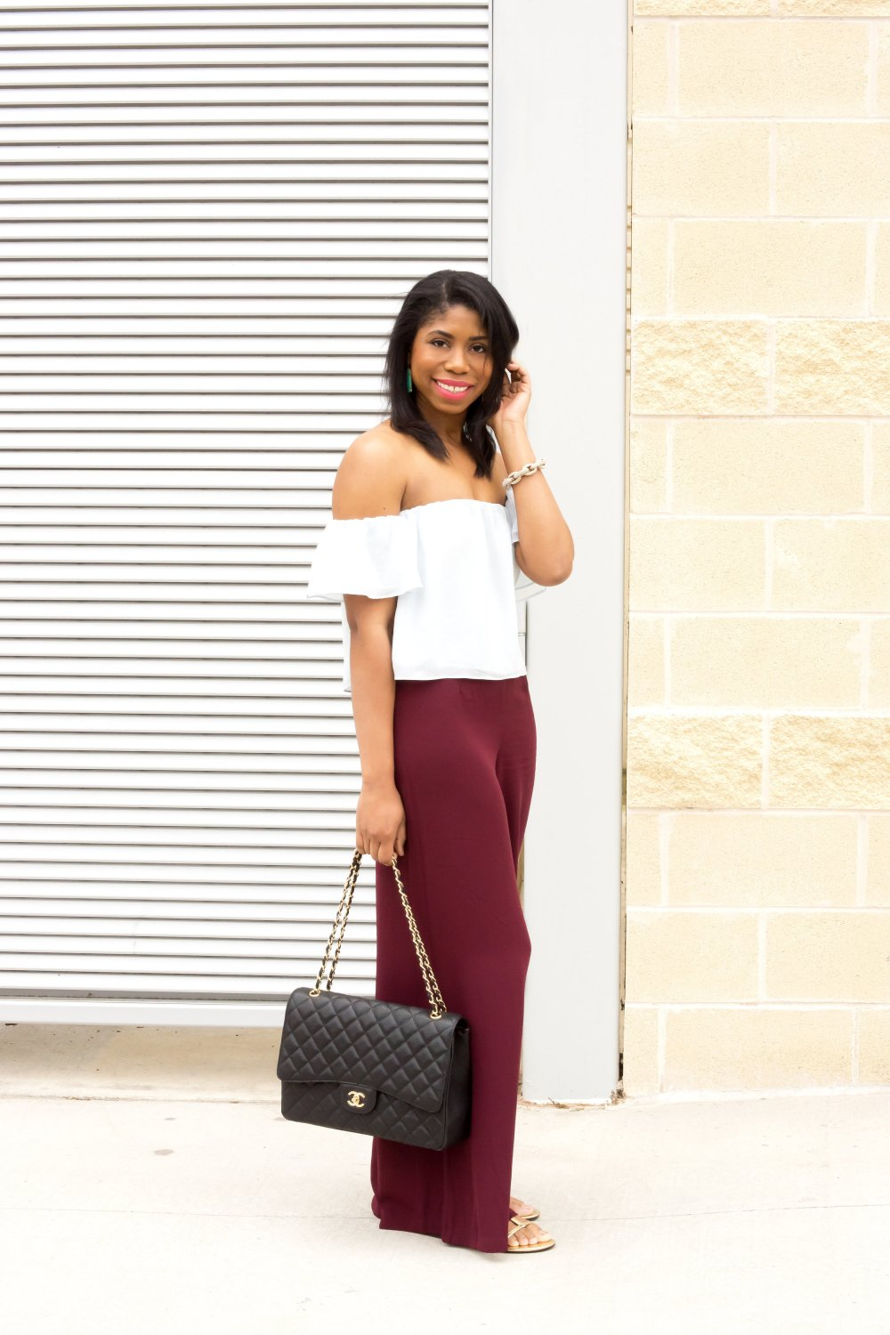 black fashion blogger dallas blogger stephanie taylor jackson off the shoulder blouse