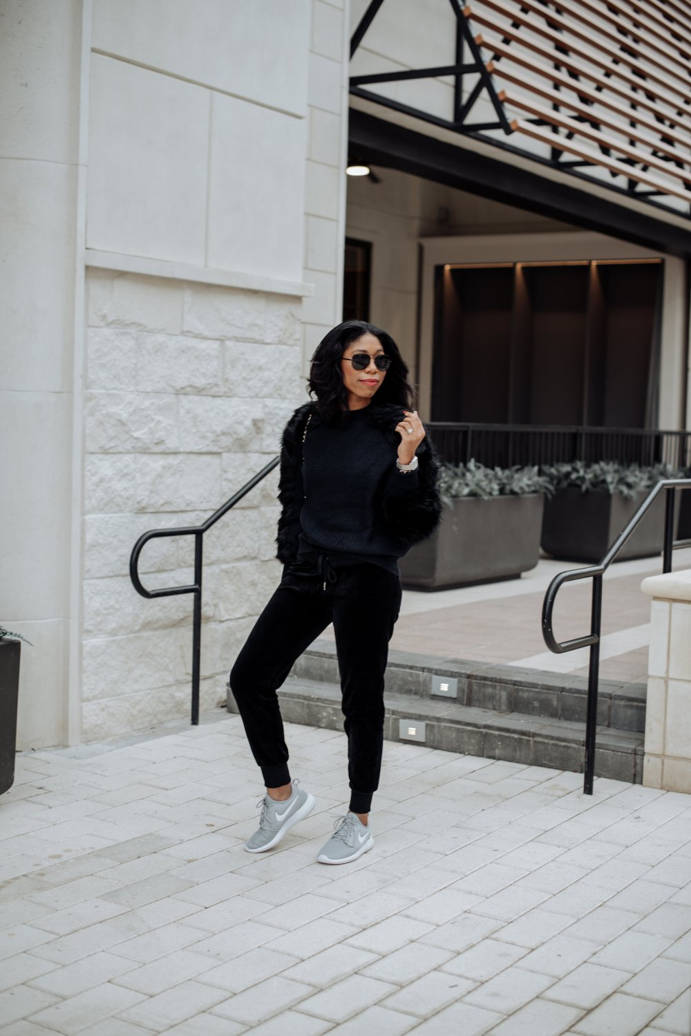 fall style winter style velvet joggers nike tennis shoes faux fur sweater casual glam style stephanie taylor jackson steph taylor jackson dallas tx blogger