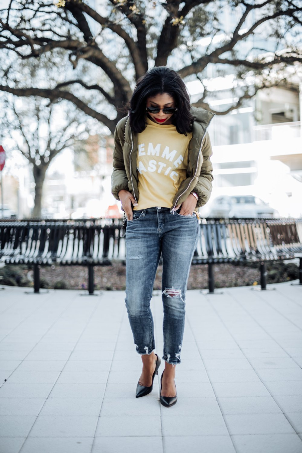h&m graphic tee how to style feminist tee shirts dallas fashion blogger