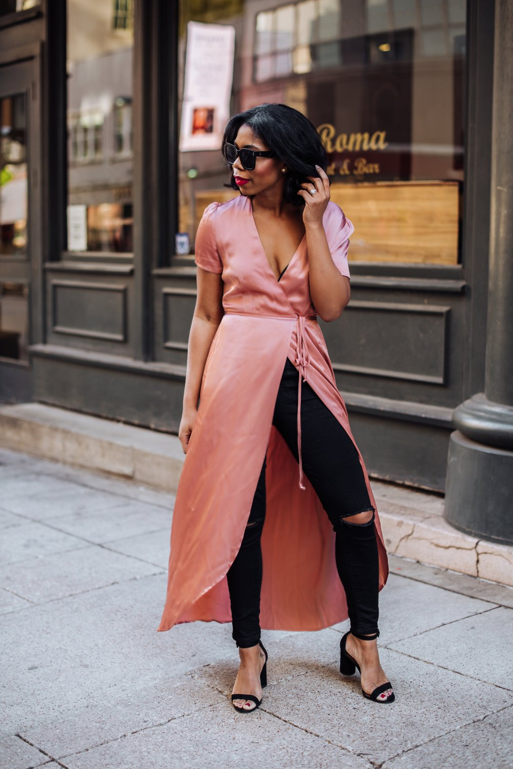 how to style a wrap dress over the knee boots black jeans dallas blogger fashion
