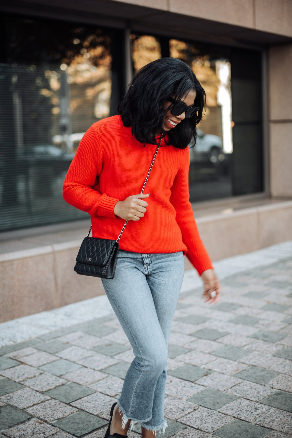 casual fashion red sweater j. crew dallas blogger stephanie taylor jackson