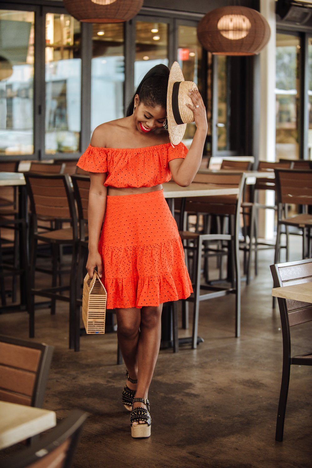 red two piece set asos fashion summer style outfit dallas black fashion blogger stephanie taylor jackson