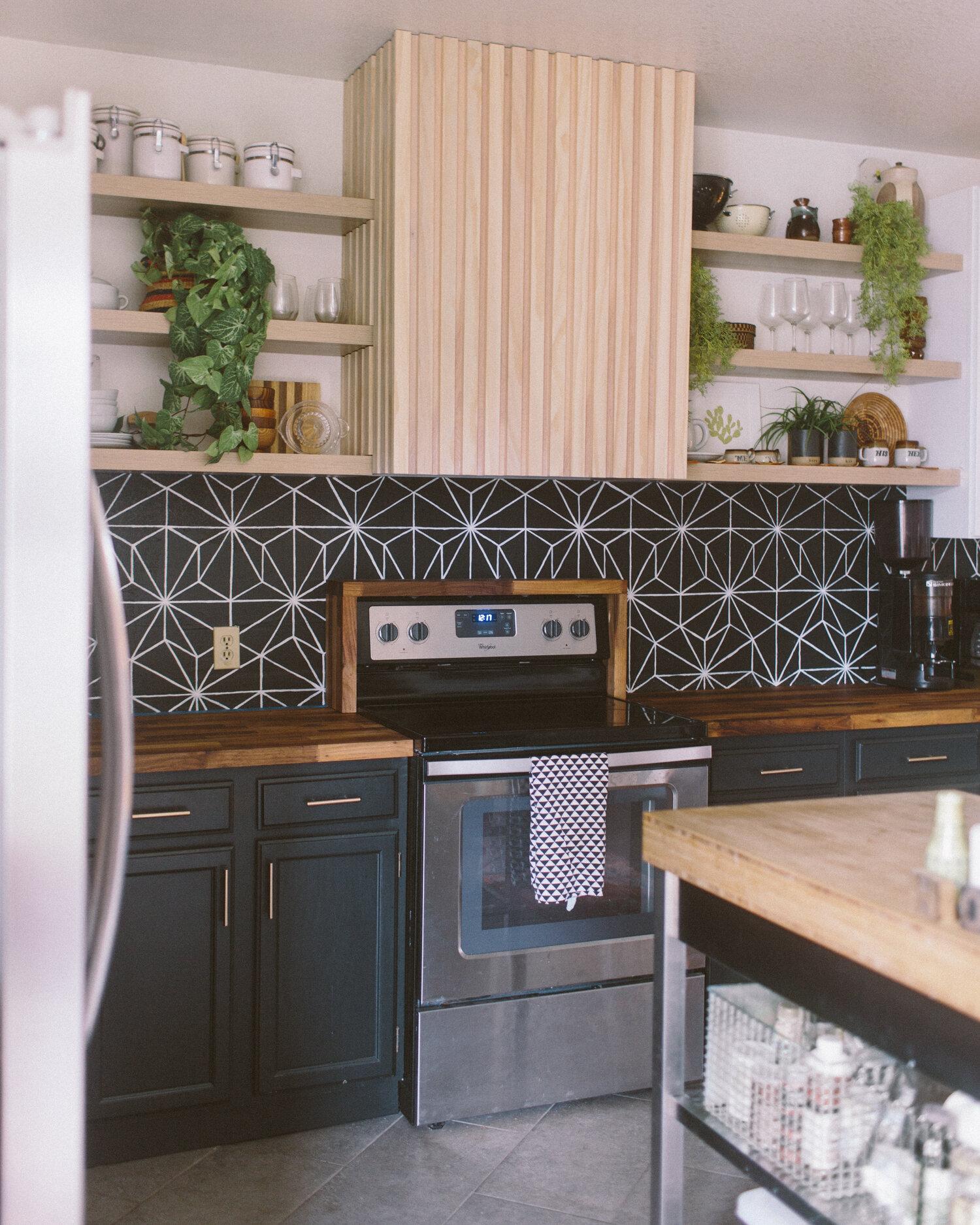 diy painted faux tile backsplash liz morrow