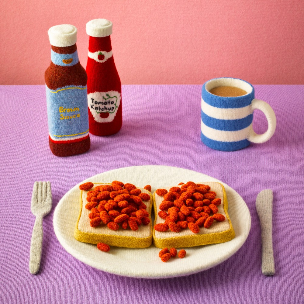 Knitted Food Knit Beans and Toast with Coffee Ketchup Knife and Fork