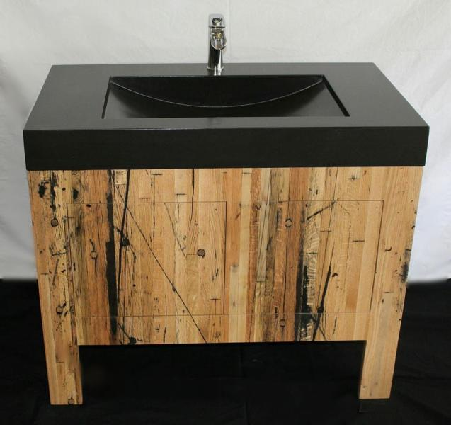The Concrete Sink   Custom Concrete Sinks reclaimed wood pedestal sinkjpg