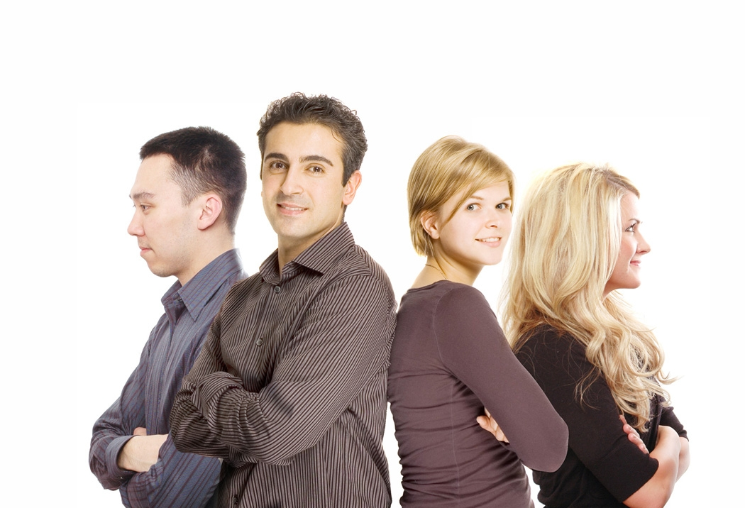 business partners are posing against white background