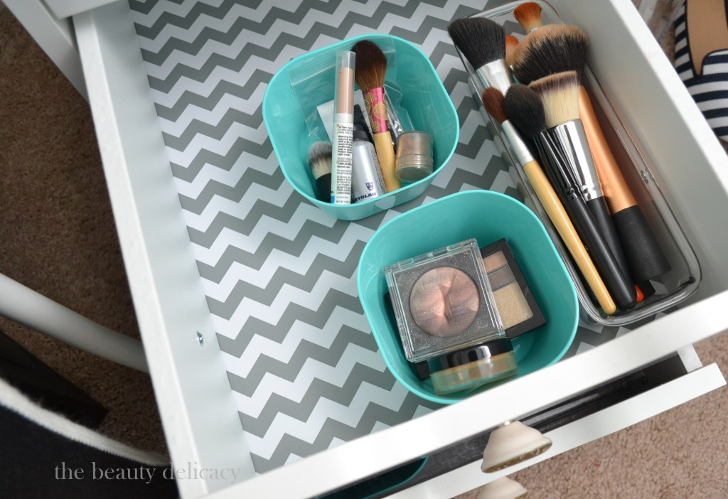 gray chevron makeup drawer