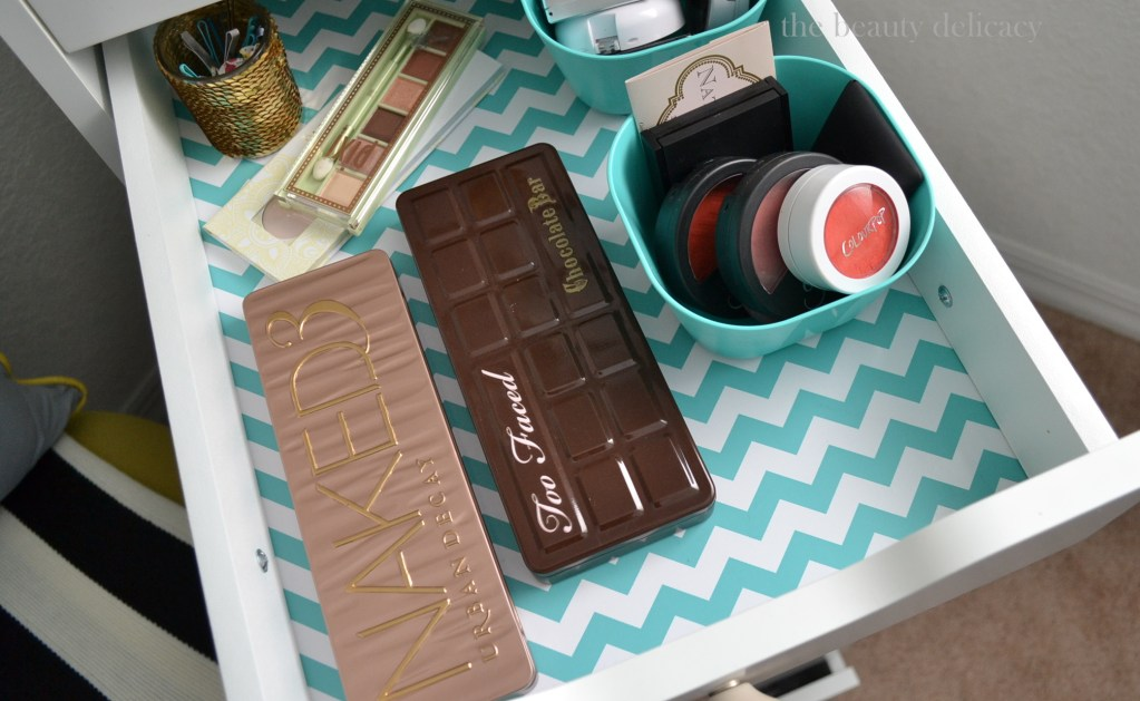 teal chevron makeup drawer