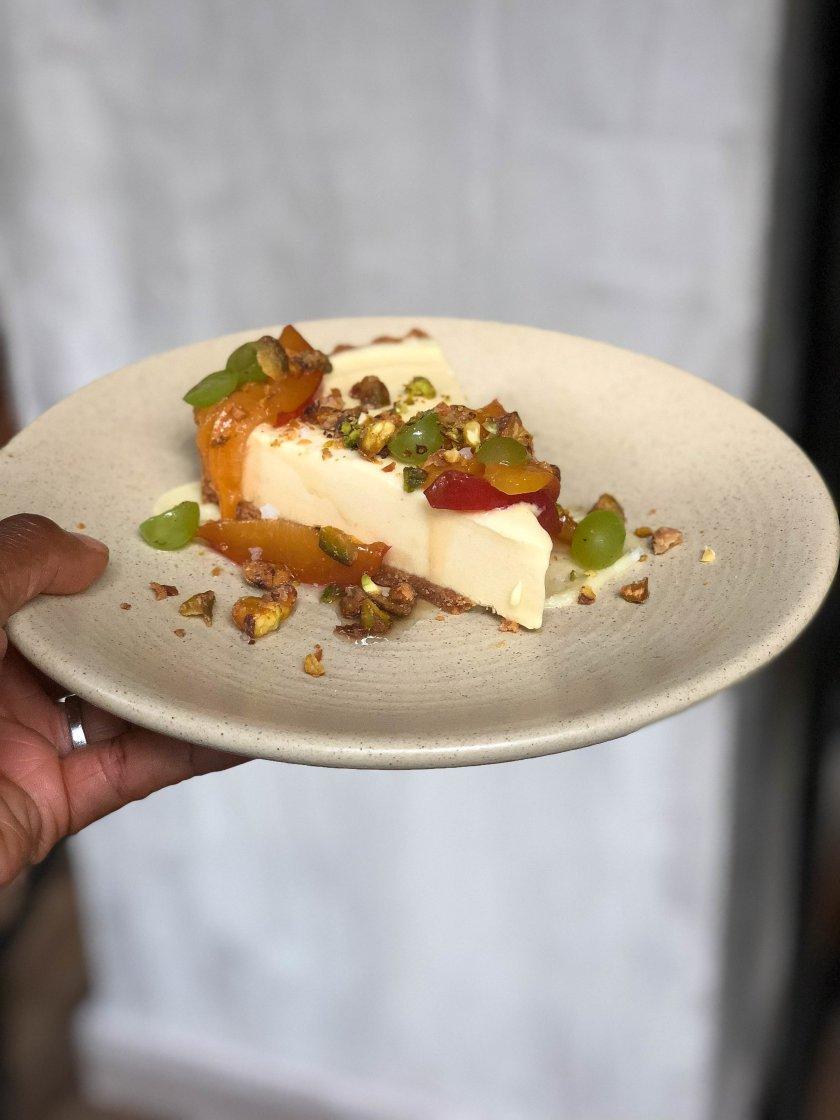 Peach Ice Cream Pie-saffron cookie crust, peach ice cream, olive oil ganache, pistachio