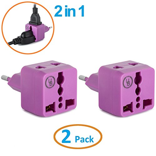 Yubi Power 2 in 1 Universal Travel Adapter with 2 Universal Outlets - Built in Surge Protector - Purple 2 Pack - Type C for France, Germany, Hungary, Portugal, Russia, Spain, Sweden, Egypt, Turkey $8.99 $19.99 Yubi Power
