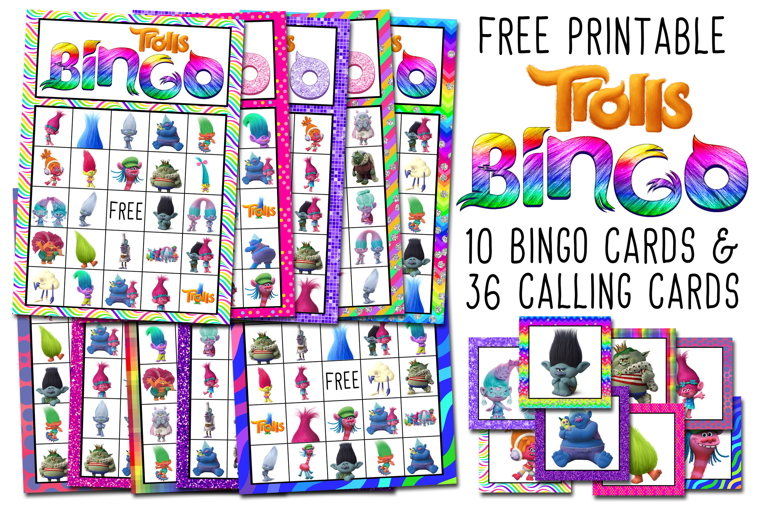 Trolls Free Printable Bingo Cards Trolls Birthday Party