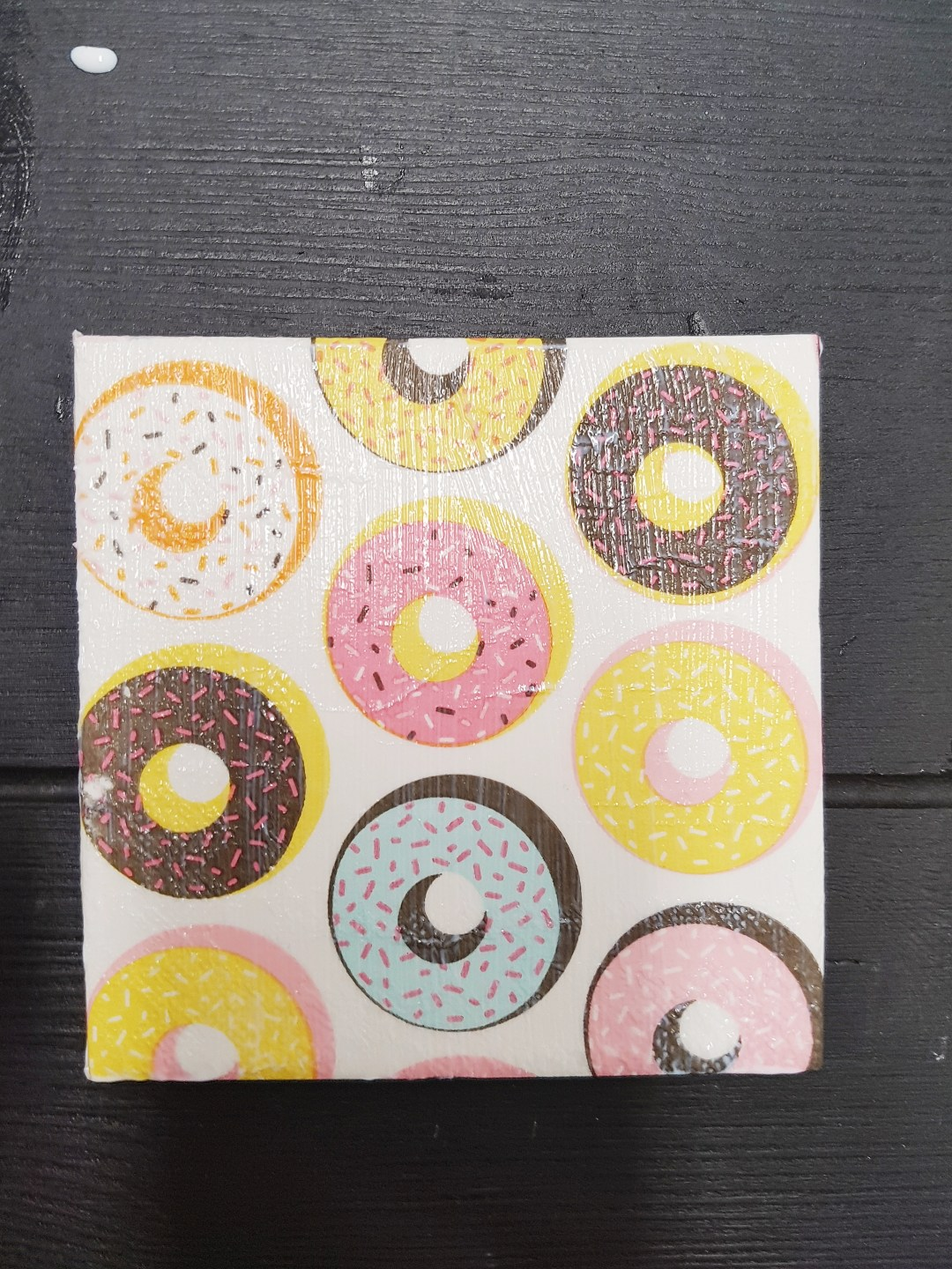 The donut coaster I made for my daughter.  Mine had pinapples on it.