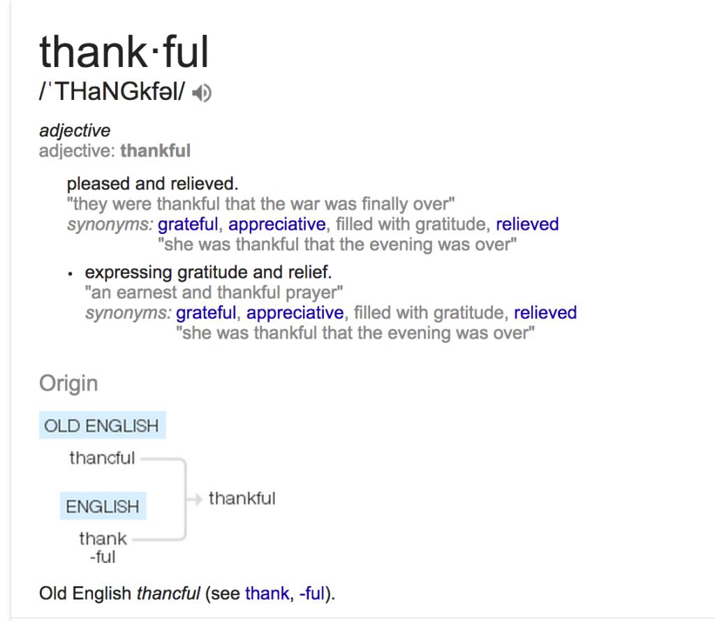 Thankful definition