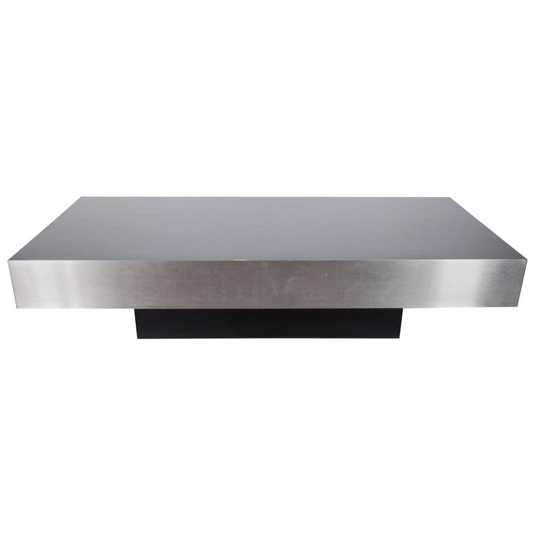 mid century modernist low cocktail table in brushed aluminium style of breuton high style deco