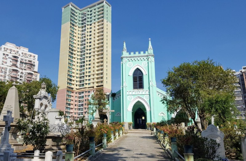Macau teal church