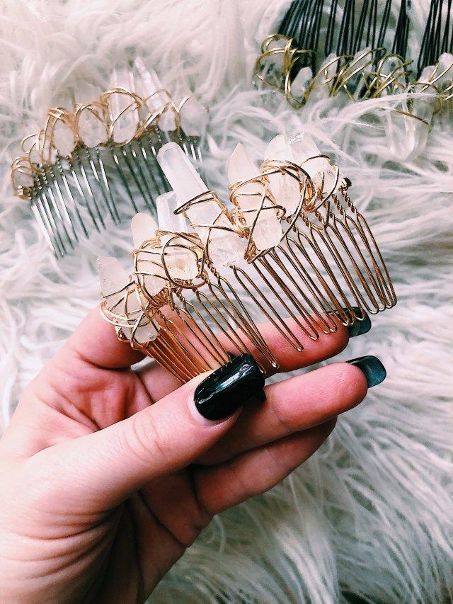 diy crystal hair comb — such a lovely life