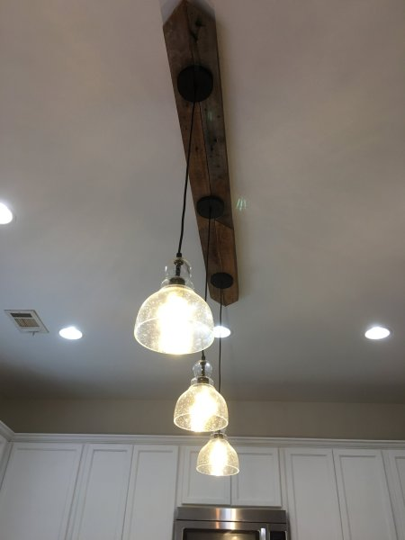Can I Make a Three Pendant Light Fixture with Only One Electrical     We used tweezers to reconnect the black wire   tried again   and this is  what it looked like