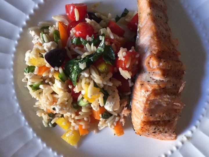 salmon with orzo salad
