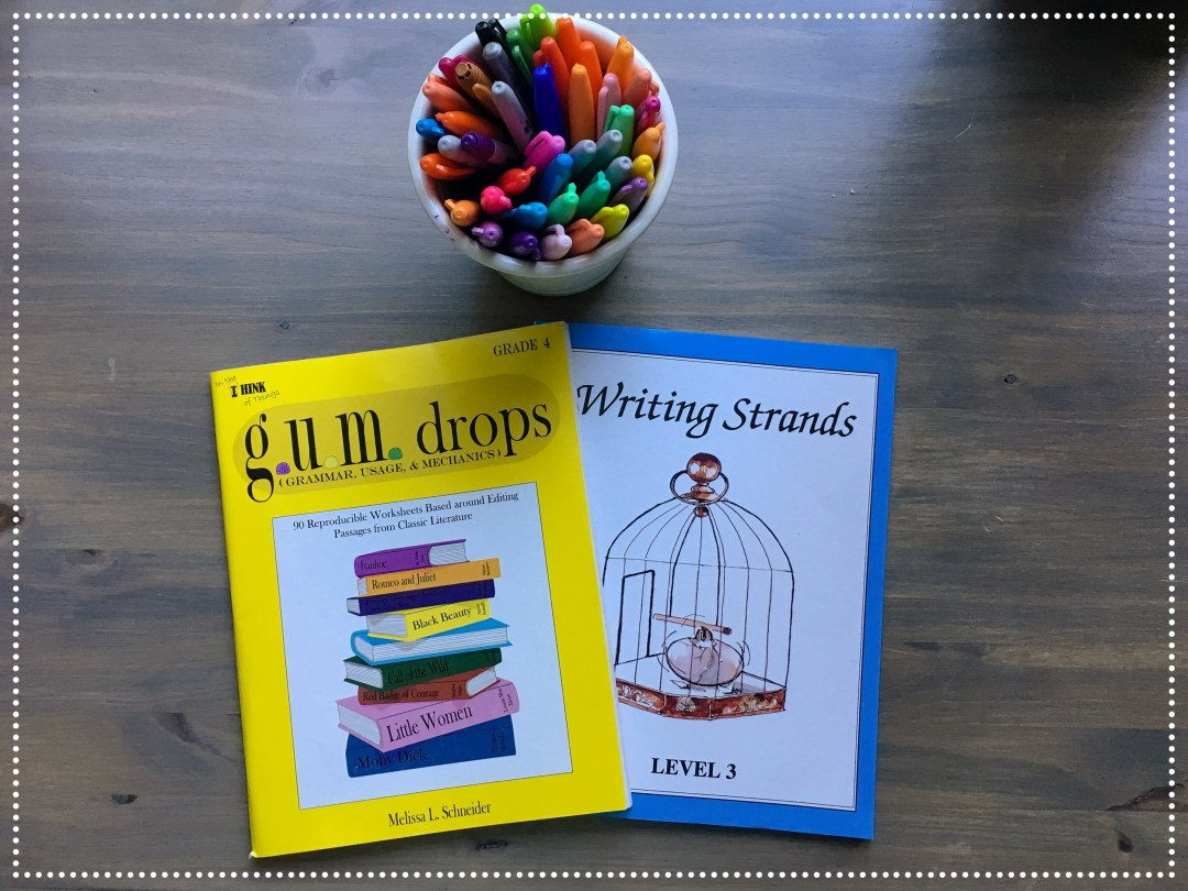 Writing Strands comes in levels, and level 3 is basically a good level for kids of various ages to improve their writing and composition.  We are moving through it pretty fast and I am thinking we will move onto level 4 by February.  With G.U.M. Drops, they are all doing their own respective grade level.