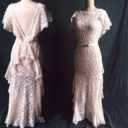 1930s Lace Buttercream Wedding Dress — West Country Whimsy Ltd