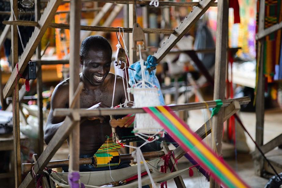 Weaving of kente cloth