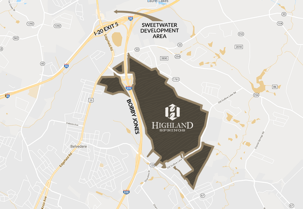 Highland Springs   North Augusta Community Highland Springs North Augusta Area Map