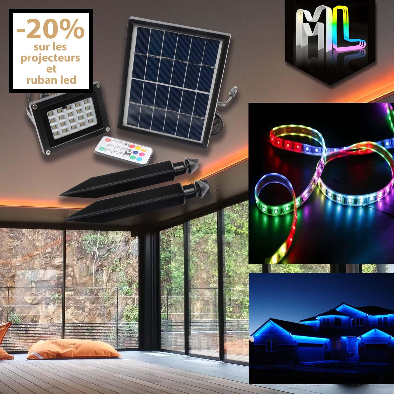beneficiez de 20 de reduction sur les projecteurs led et les rubans led a la maison des meubles et luminaires