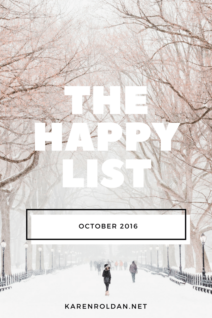 The Happy List: October 2016 1