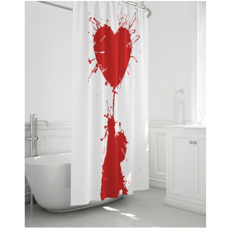 red heart shower curtain art gang