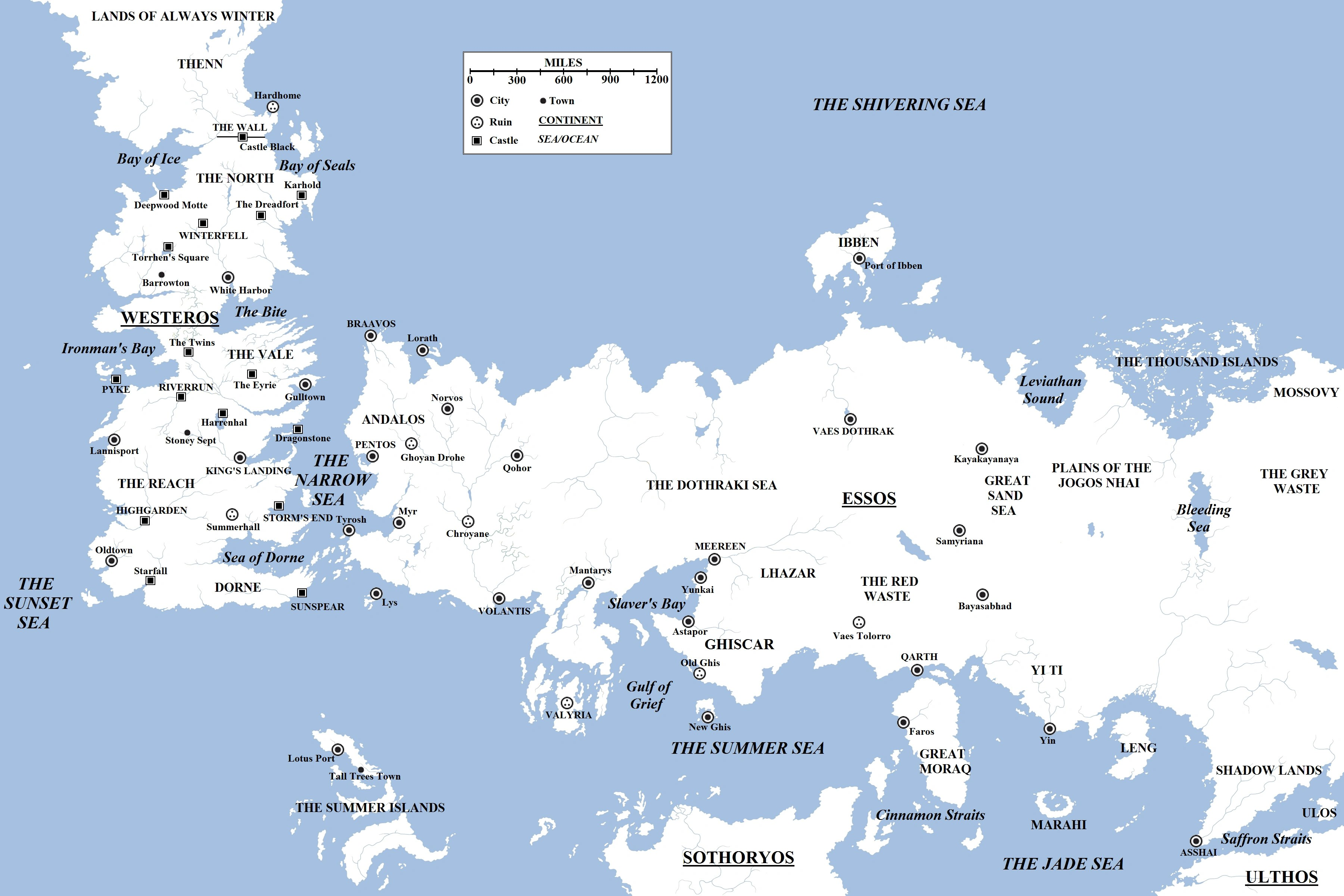 map of the world of A Song of Ice and Fire