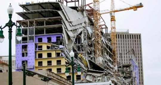 Image of the collapse of the Hard Rock Hotel in New Orleans
