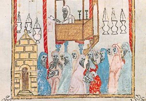 Miniatura de una Hagadá española (Hagadá Hermana, Arte sefardí, Barcelona, 1350)