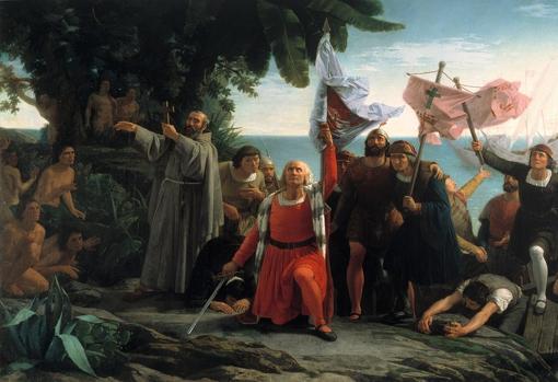 Primer desembarco de Cristóbal Colón en América (Dióscoro Puebla, 1862).