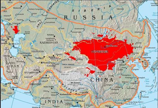 Comparativa entre la extensión del Imperio mongol en el siglo XIII y la localización actual