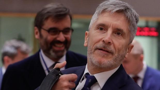 Marlaska en la reunión extraordinaria de ministros del Interior de la UE ayer en Bruselas