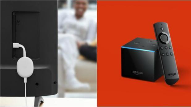 El Chromecast 4 de Google (a la izquierda) y el Cube Fire TV de Amazon