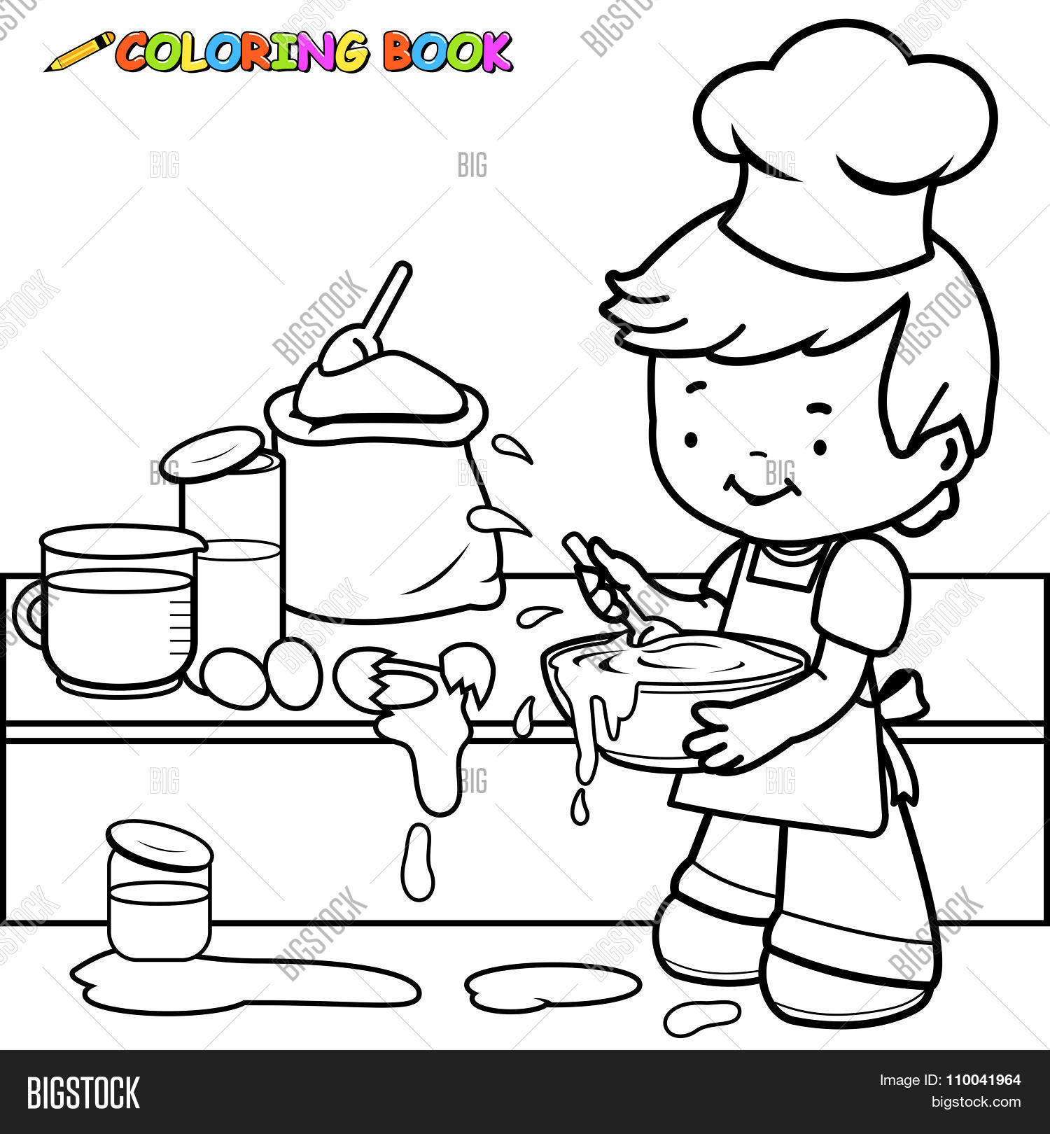 Little Boy Cooking Making Mess Vector Amp Photo