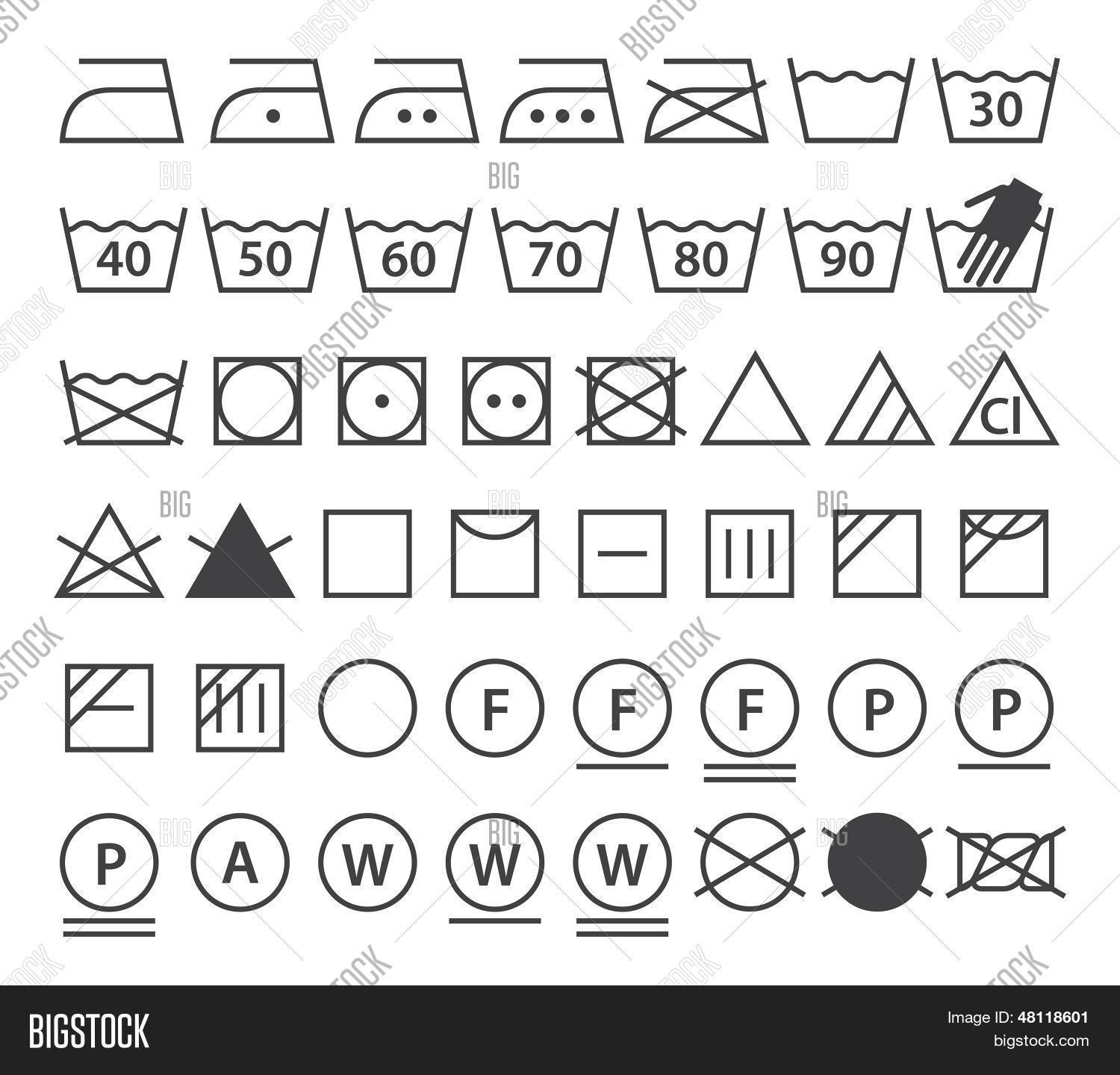 Set Washing Symbols Vector Amp Photo Free Trial