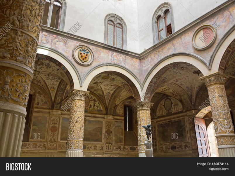 FLORENCE  ITALY   Image   Photo  Free Trial    Bigstock FLORENCE  ITALY   SEPTEMBER 2016   Interior of Old Palace  Palazzo  Vecchio s first Courtyard